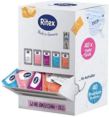 Ritex Surtido de preservativos mezclados, más selección y Mega-Diversión, 40 unidades