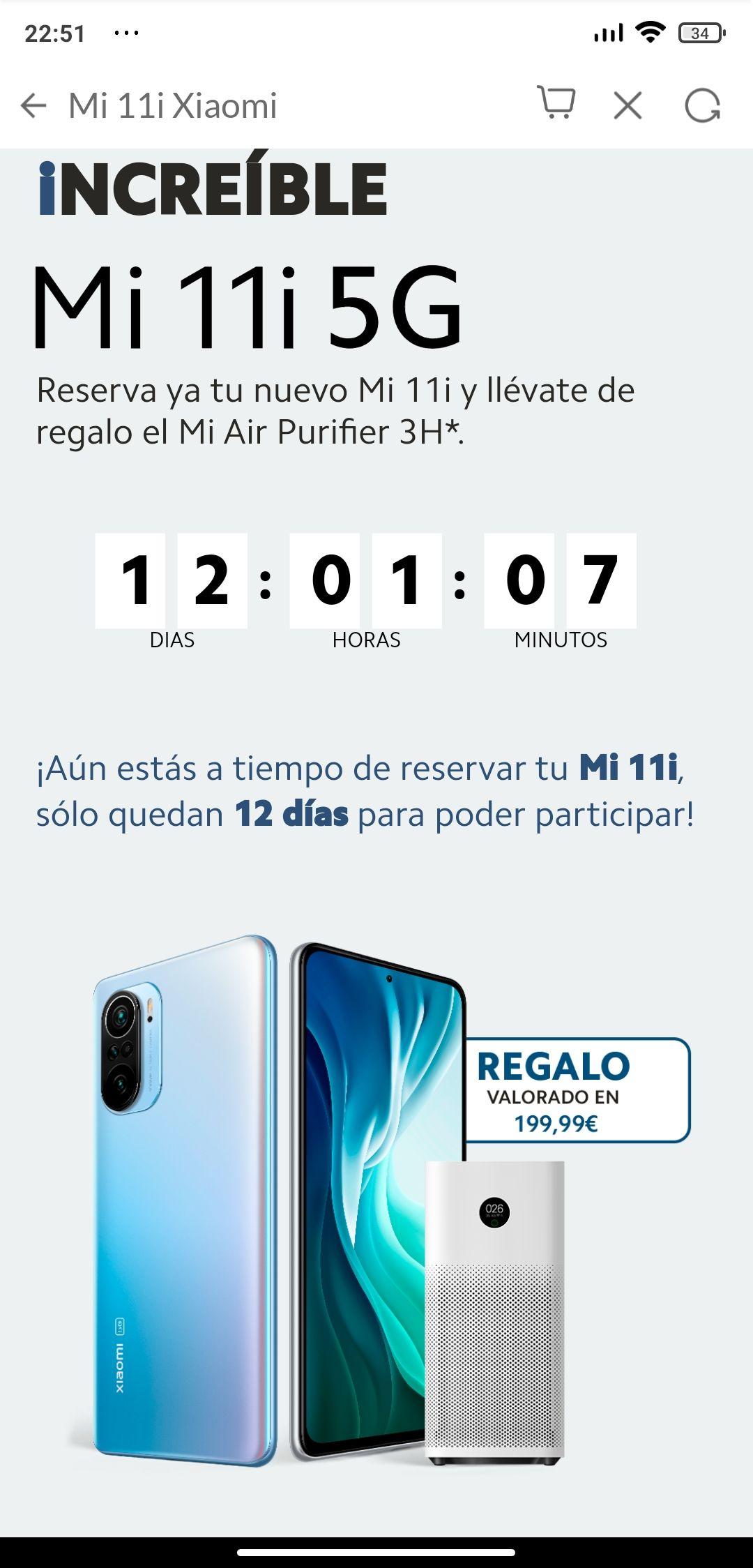 Reserva Xiaomi Mi11i 5g y Mi Air Purifier 3H de regalo