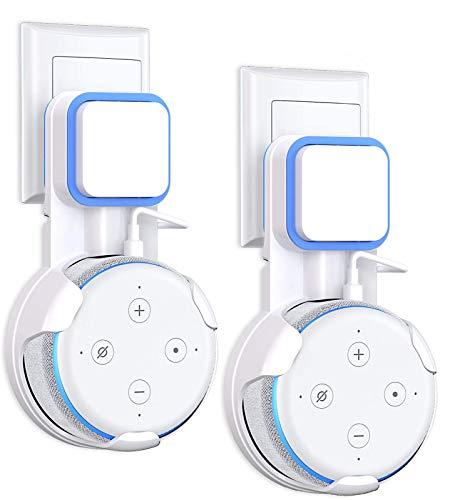 Pack de 2 unidades, Soporte para Echo Dot 3.ª Generación, Accesorios con Gestión de Cables, Asistentes de Voz Doméstico, Blanco