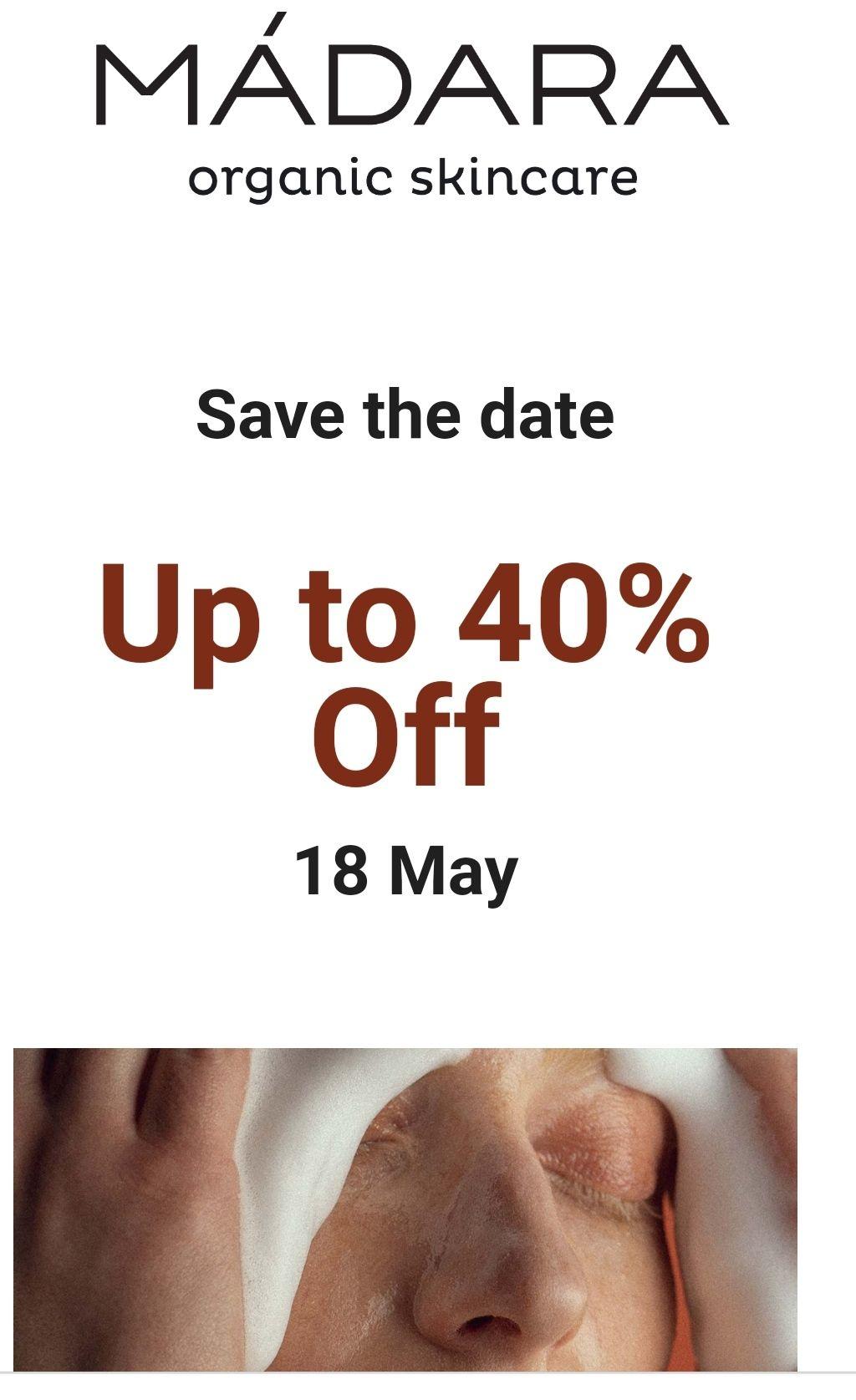 Madara skin care. 40% descuento en toda la web. Solo el 18 de mayo.