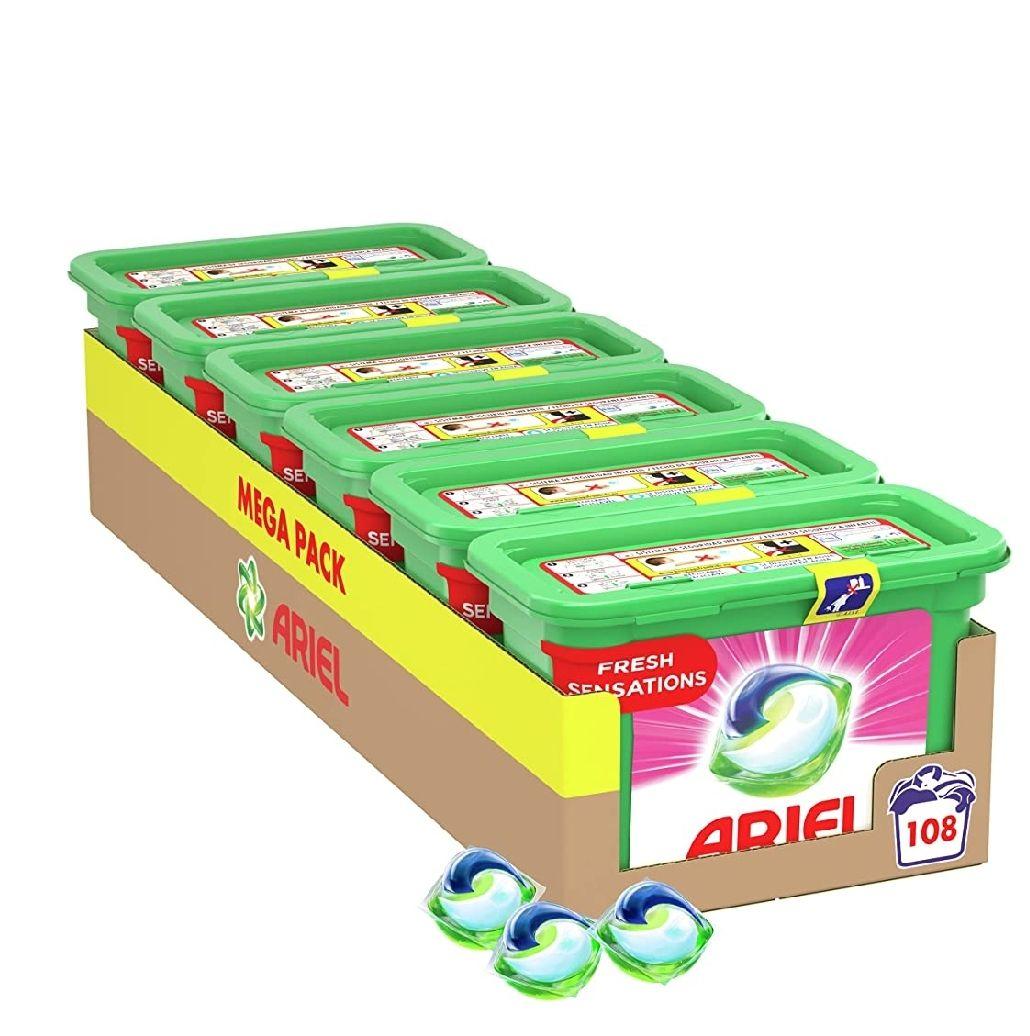 Ariel Pods Allin1 Detergente Lavadora Cápsulas, 108 Lavados (6 x 18)