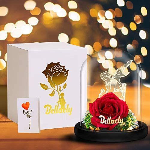Luces LED en Cúpula de Cristal con Base Pino, Rosa Regalo Decoración