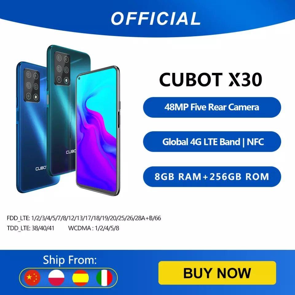 Cubot X30 Smartphone 48MP cinco Cámara 32MP Selfie 6 + 128GB/8GB