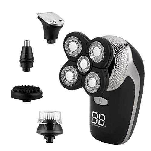 Afeitadora Eléctrica 5 en 1, Recortador de Barba Inalámbrico de Carga USB.
