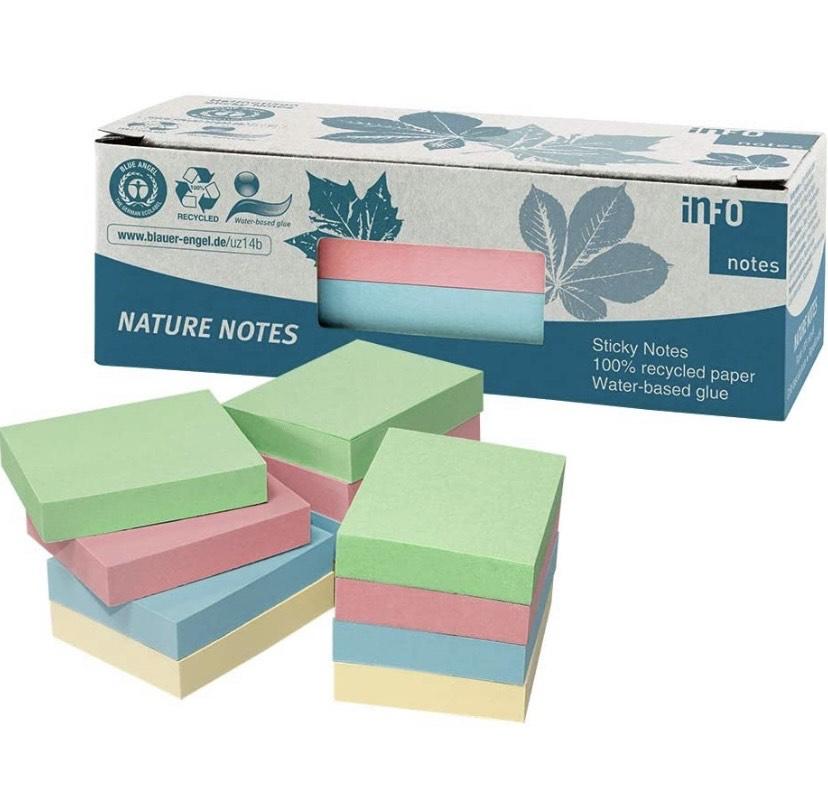 1200 Notas adhesivas 100% recicladas, mezcla de pastel, 50 x 40 mm,