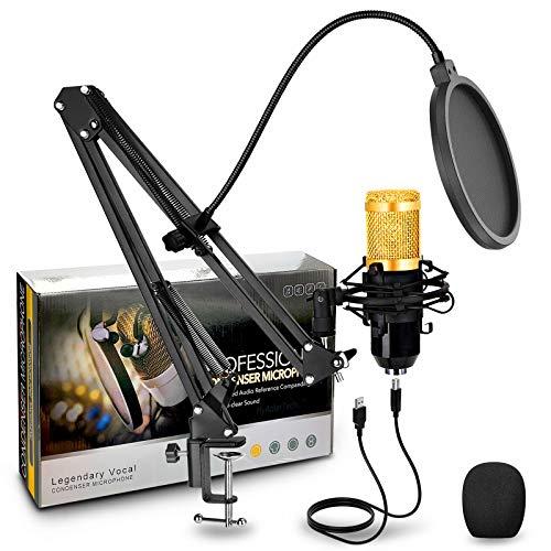 Micrófono de Condensador con Conector de Audio de 3.5 mm y Soporte de Brazo de Tijera