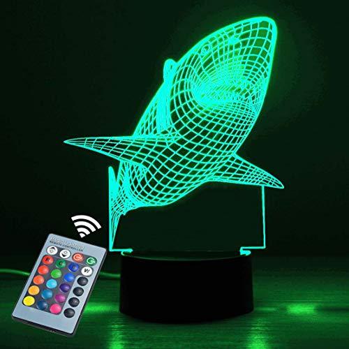 Luz nocturna 3D, interruptor táctil Control remoto Cambio de 16 colores. Tiburón