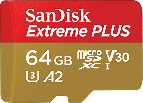 Tarjeta de Memoria microSDXC de 64 GB con Adaptador SD, A2, hasta 170 MB/s, Class 10, U3 y V30, Oro/Rojo