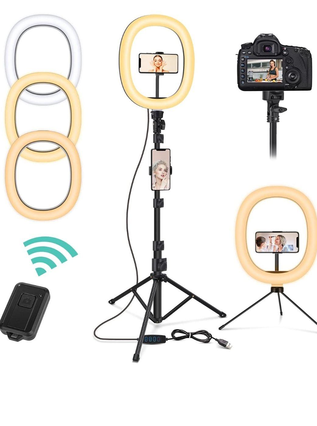Anillo de Luz con Trípode, 10 Pulgadas LED Selfie Ring Light con Soporte para teléfono