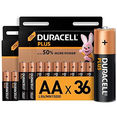 Duracell Plus AA, Pilas Alcalinas , paquete de 36, 1,5 Voltios LR06 MN1500