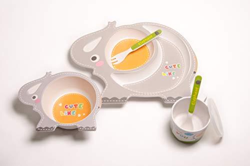 Set vajilla Infantil de bambú sin BPA. Incluye 5 piezas : Cubertería para niños Vaso