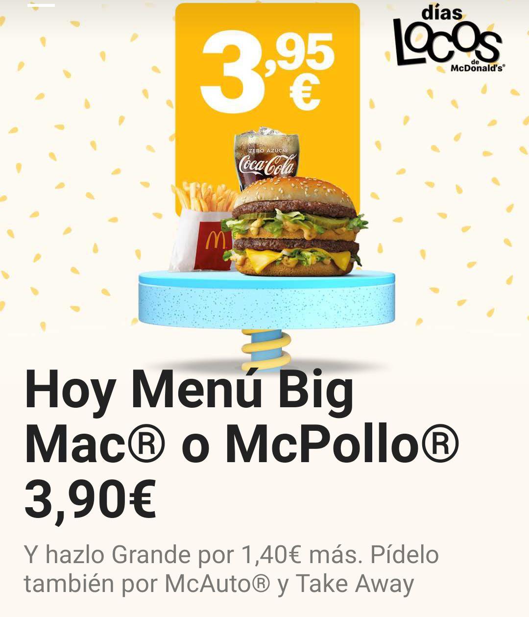 Menú completo Big Mac o McPollo a 3,90€
