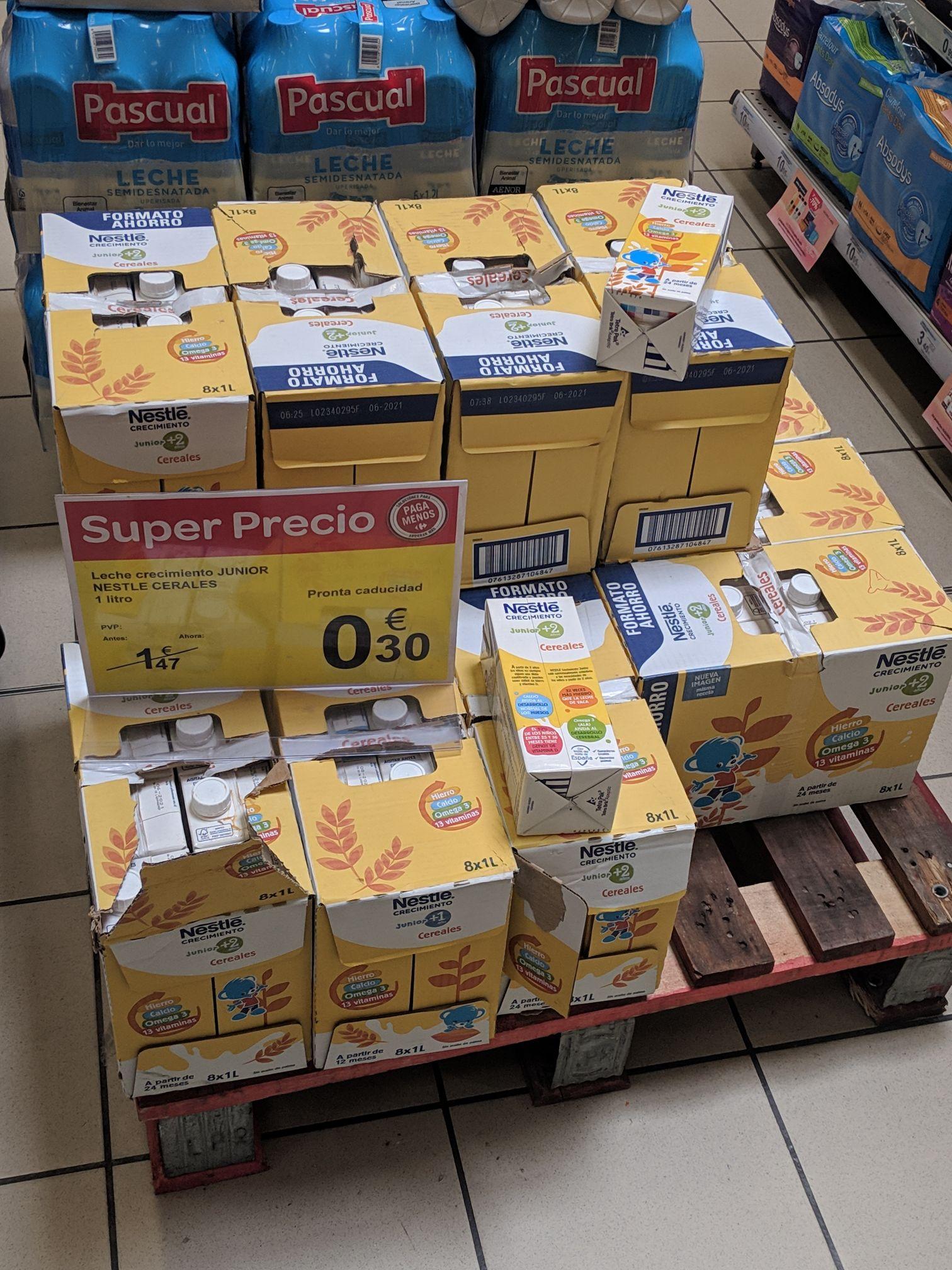 1l de leche crecimiento junior Nestlé Cereales +1 año y +2 años en Carrefour Valdelasfuentes (Alcobendas)