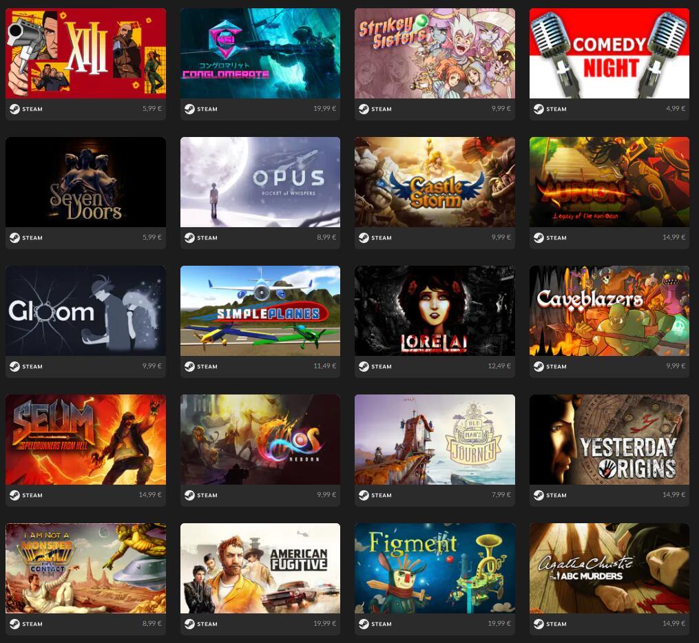20 Juegos Steam ( 1 a 0.99€, 5 por 2.99€ y 10 por 4,99€)