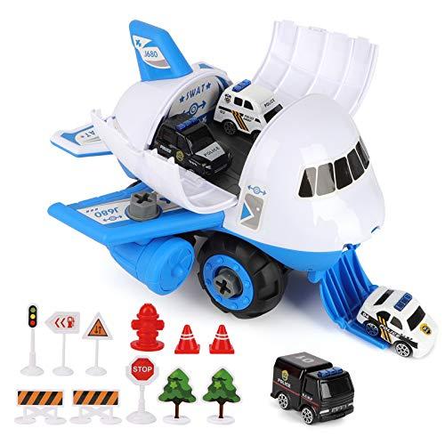 Avión de juguete con coche de policía y otros accesorios