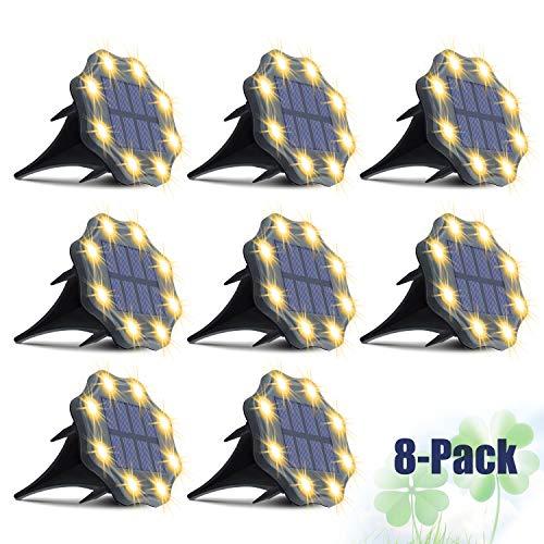 Pack de 8 Luces Solares LED Exterior para suelo, IP67, Blanco cálido,