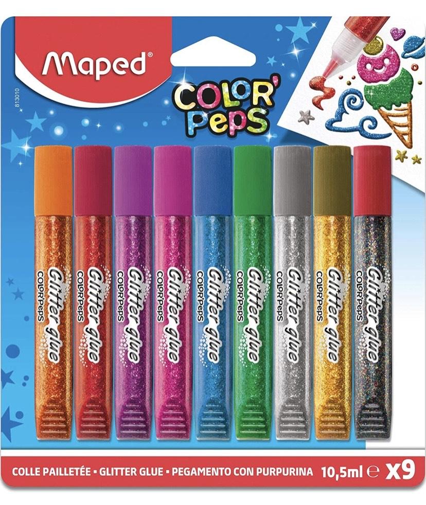 Pack de 9 tubos de pegamento con purpurina Maped 16x18cm.