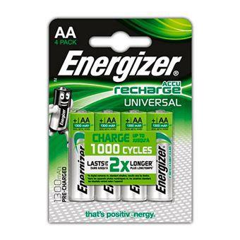 Pilas recargables AA Energizer 1300mah- 4 unidades (solo socios)