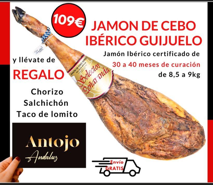 Jamón de Cebo ibérico de Guijuelo (8,5-9 KG) + 1 Chorizo+1 Salchichón+ 1taco lomo + Envío Gratis