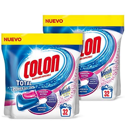 Detergente para lavadora con Quitamanchas, formato Cápsulas - Pack de 2 - Hasta 64 dosis