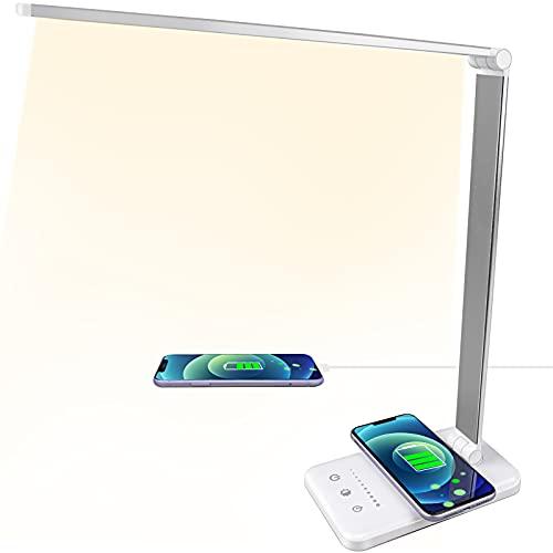 Lámpara de escritorio LED con cargador inalámbrico