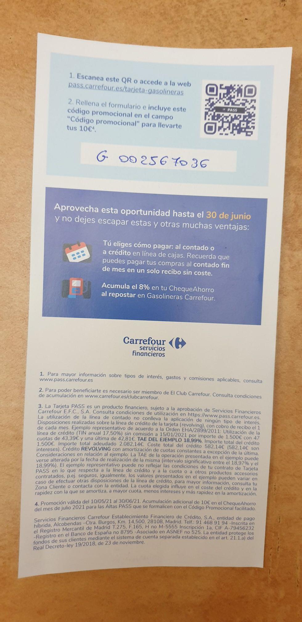 10€ más para tu cheque ahorro Carrefour Haciéndote la tarjeta Pass