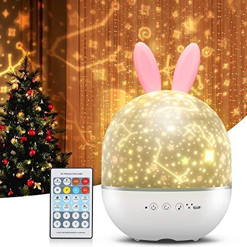 Proyector Star Night Light para bebés, regalo para niños, lámpara LED giratoria 360 ° con mando a distancia,
