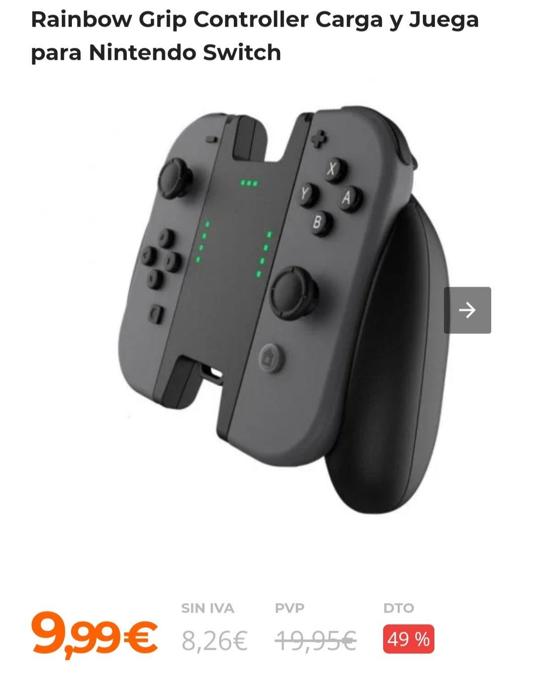 Rainbow Grip Controller Carga y Juega para Nintendo Switch