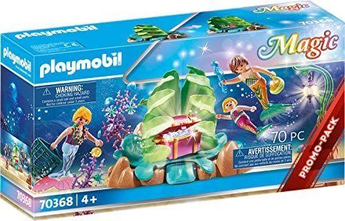 PLAYMOBIL Magic 70368 Salón Coral de Sirenas, Con efecto de luz y perlas para coleccionar,