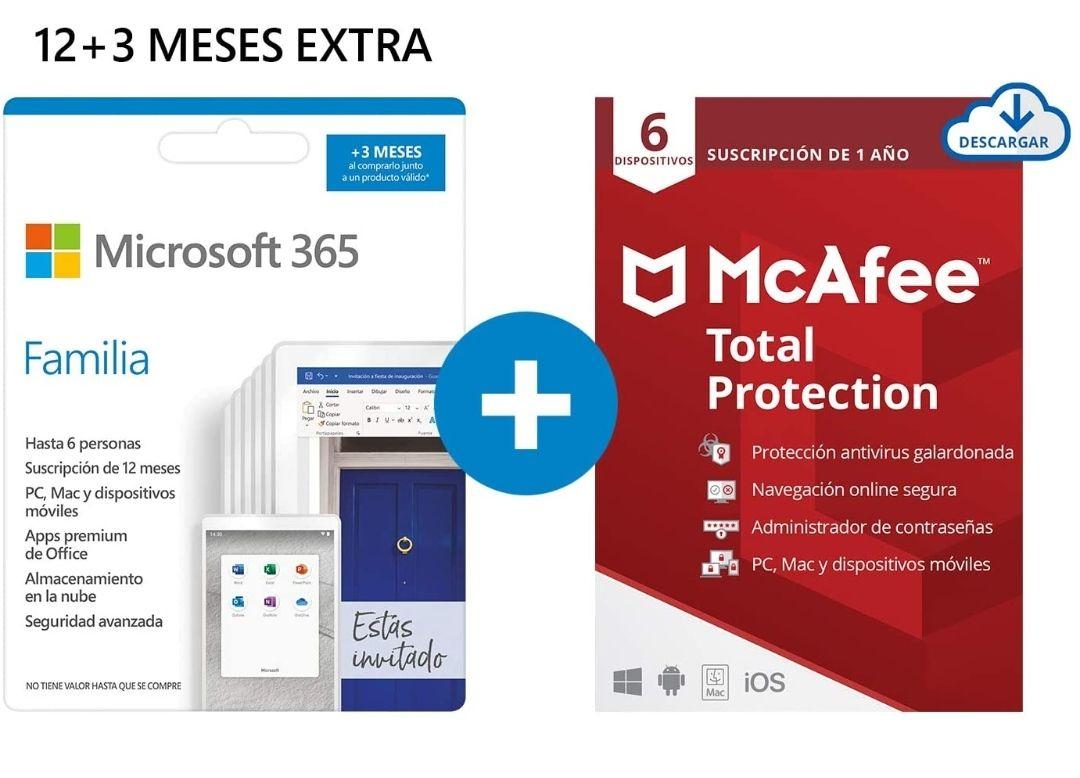 Microsoft 365 Familia (12+3 Meses) +McAfee Total Protection 6 dispositivos 1 año