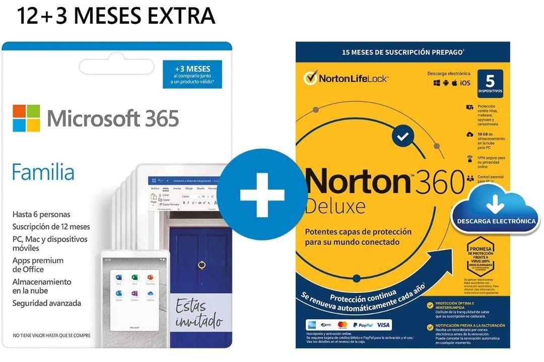 Microsoft 365 Familia 15 meses + NORTON 360 Deluxe | 15 Meses