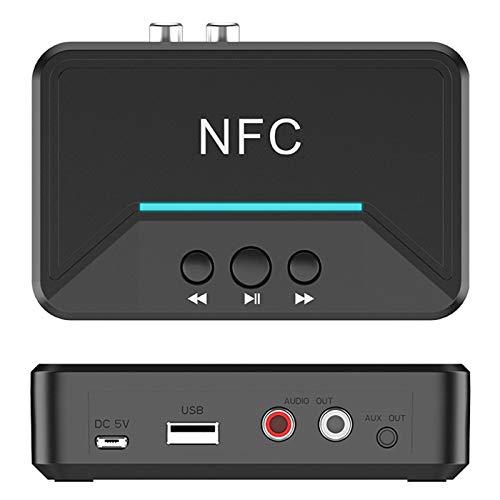 NFC Bt5. 0 Adaptador de Audio Inalámbrico,Baja Latencia con 3.5 Mm Aux 2Rca para Amplificador de audio