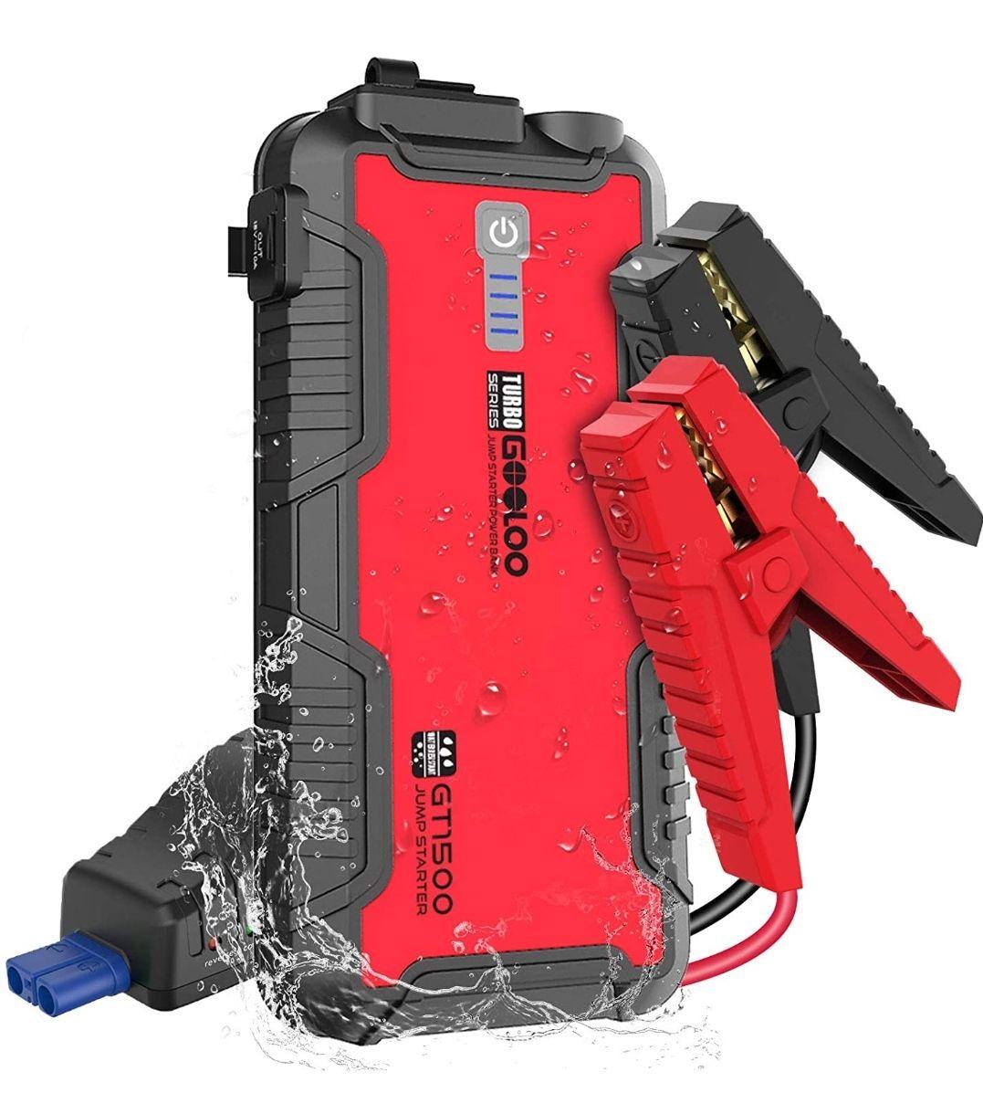 GOOLOO GT1500 Arrancador Resistente al Agua 1500A -12V para 8L Gasolina y 6L Diésel con Carga Rápida USB , incluye bolsa transporte