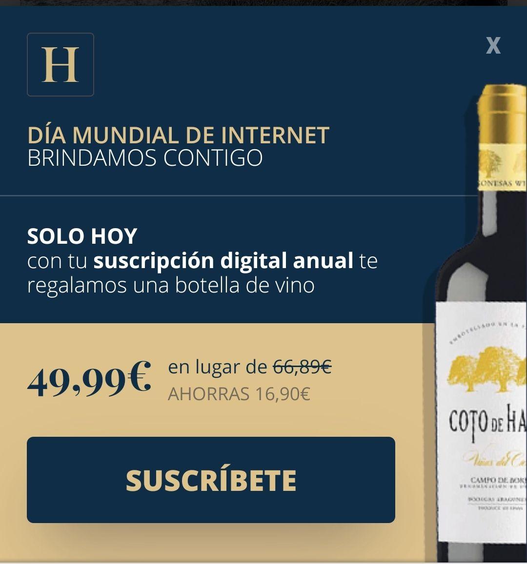 Subscripción anual al Heraldo de Aragón -web- con botella de Vino gratis. Sólo hoy