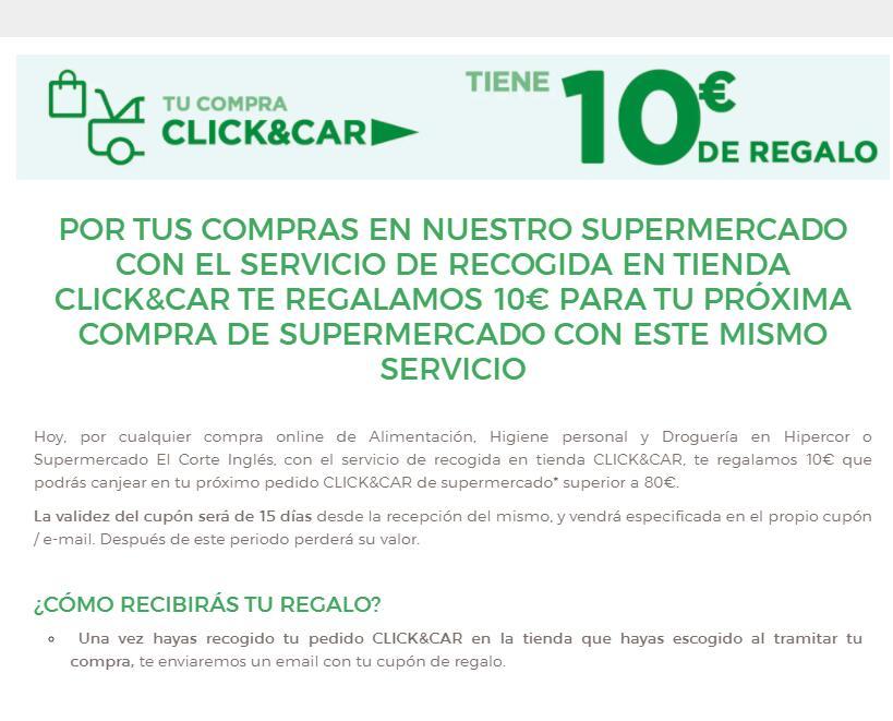 10€ GRATIS El Corte Inglés Supermercado con CLICK&CAR, compras superior a 80€