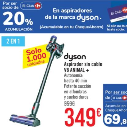 Dyson v8 animal + - Acumula 69.89€ en Cheque Carrefour