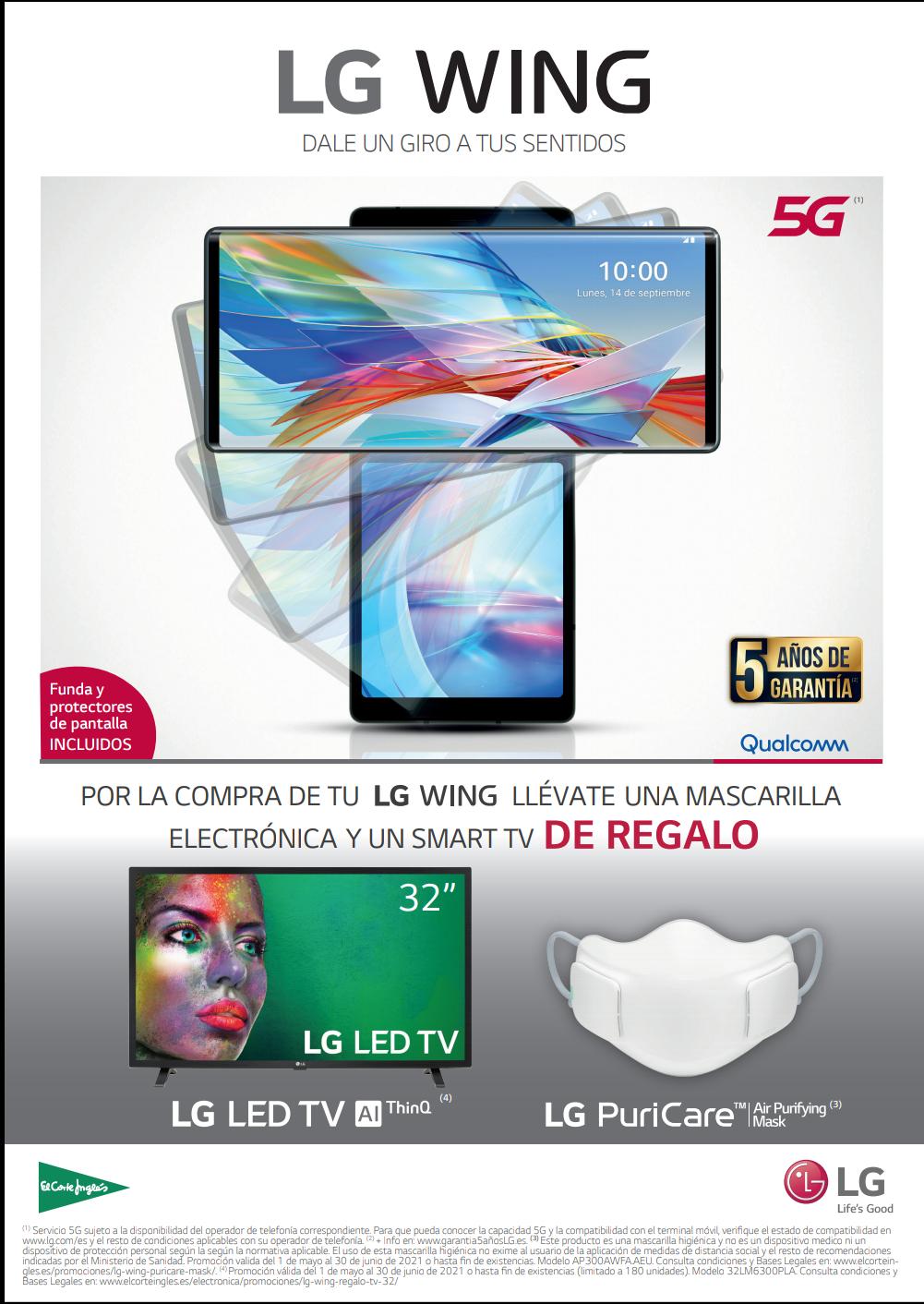Teléfono LG WING + SMART TV + MASK PURICARE