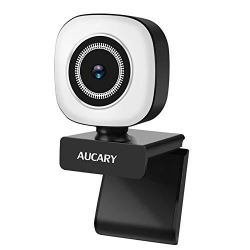 2K Anillo de luz Cámara Web de 1080p con micrófono para PC,HD USB Webcam with Fixed Focus Auto Light