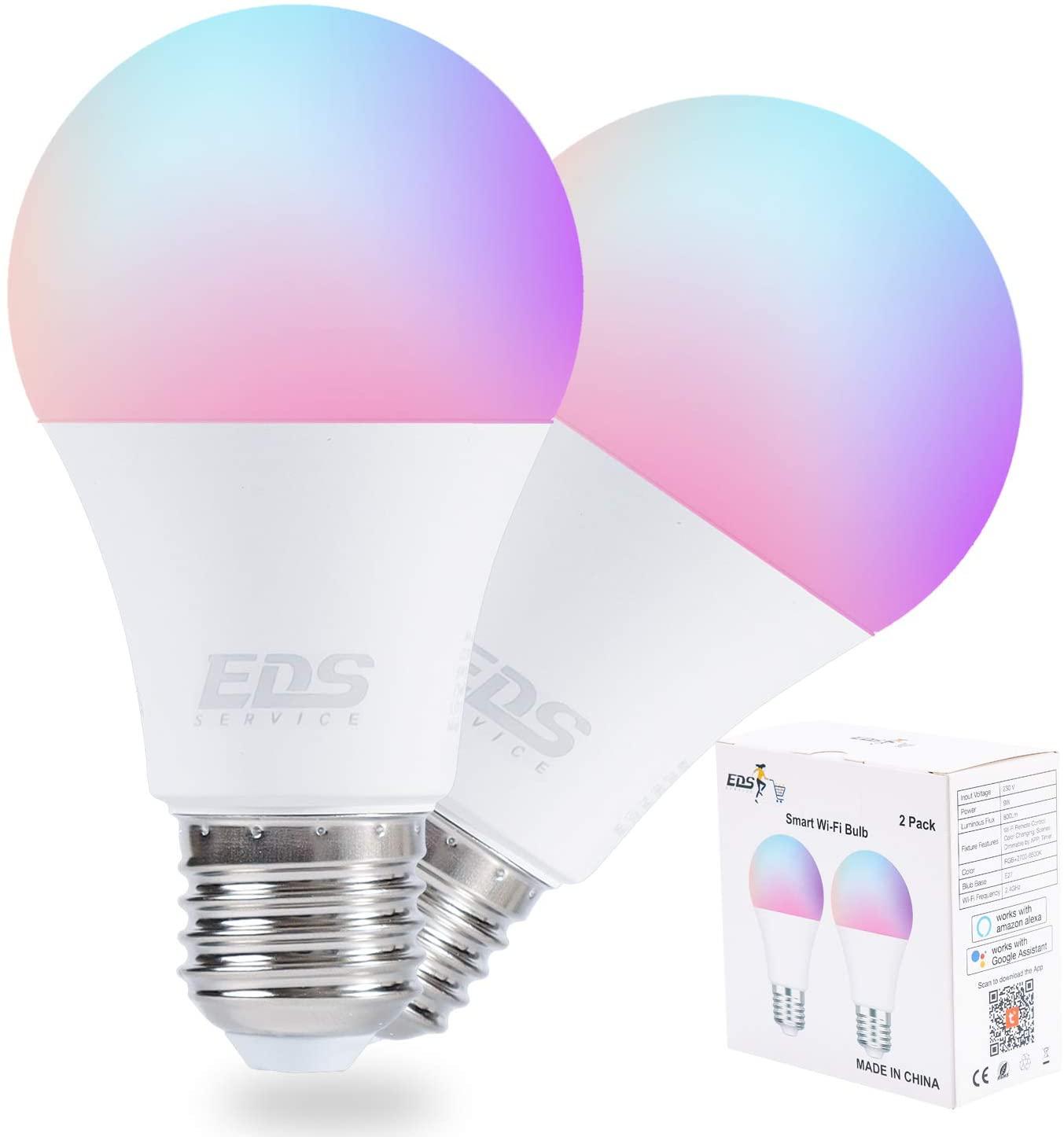 Pack 2 bombillas 9w Alexa & Google solo 9.9€