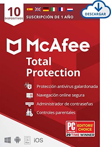 McAfee Total Protection 2021, 10 Dispositivos, 1 Año, Software Antivirus