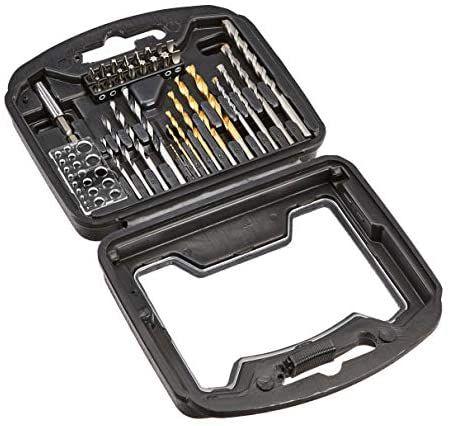 Amazon Basics - Juego de brocas y accesorios de destornillador y taladro, 32 piezas