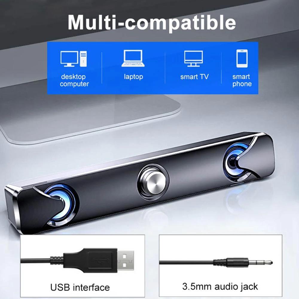 Barra de sonido V111 , altavoz estéreo envolvente 3D con luz LED, Control remoto inteligente.