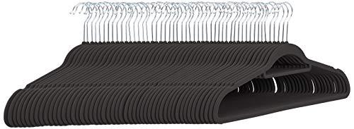 Perchas de terciopelo para trajes con gancio per cravatte, color negro, 50 unidades