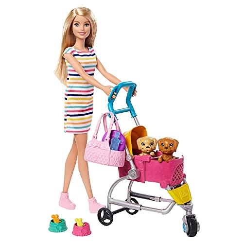 Barbie y su Carrito para Mascotas, Muñeca Rubia con accesorios y perritos