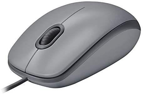 Logitech M110 Ratón con Cable USB, Botones Silenciosos, Tamaño Normal Confortable, Ambidiestro, PC/Mac/Portátil, Gris