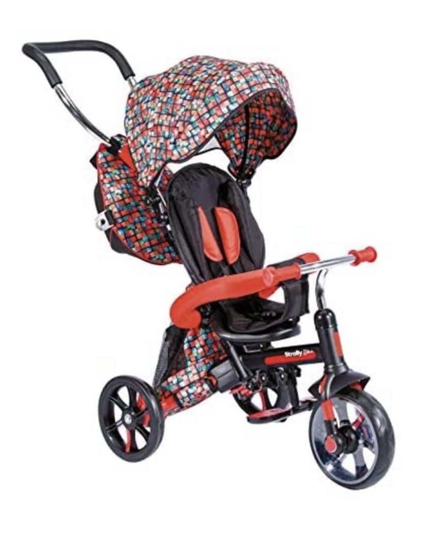 Triciclo / Cochecito de Bicicleta para niños - Asa de Empuje, sombrilla, Mochila para Objetos - Desde 12 Meses hasta 3 años
