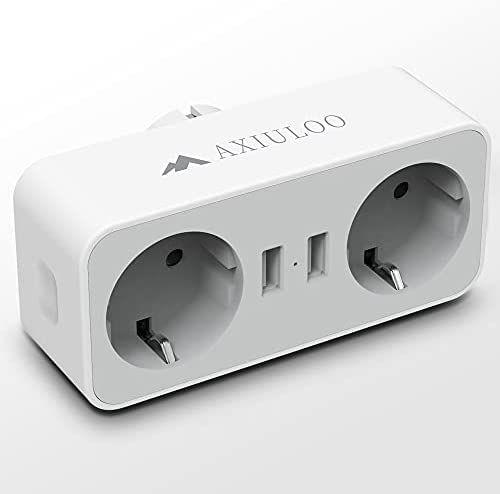 Adaptador de enchufe 4 en 1,2 puertos y 2 puertos USB