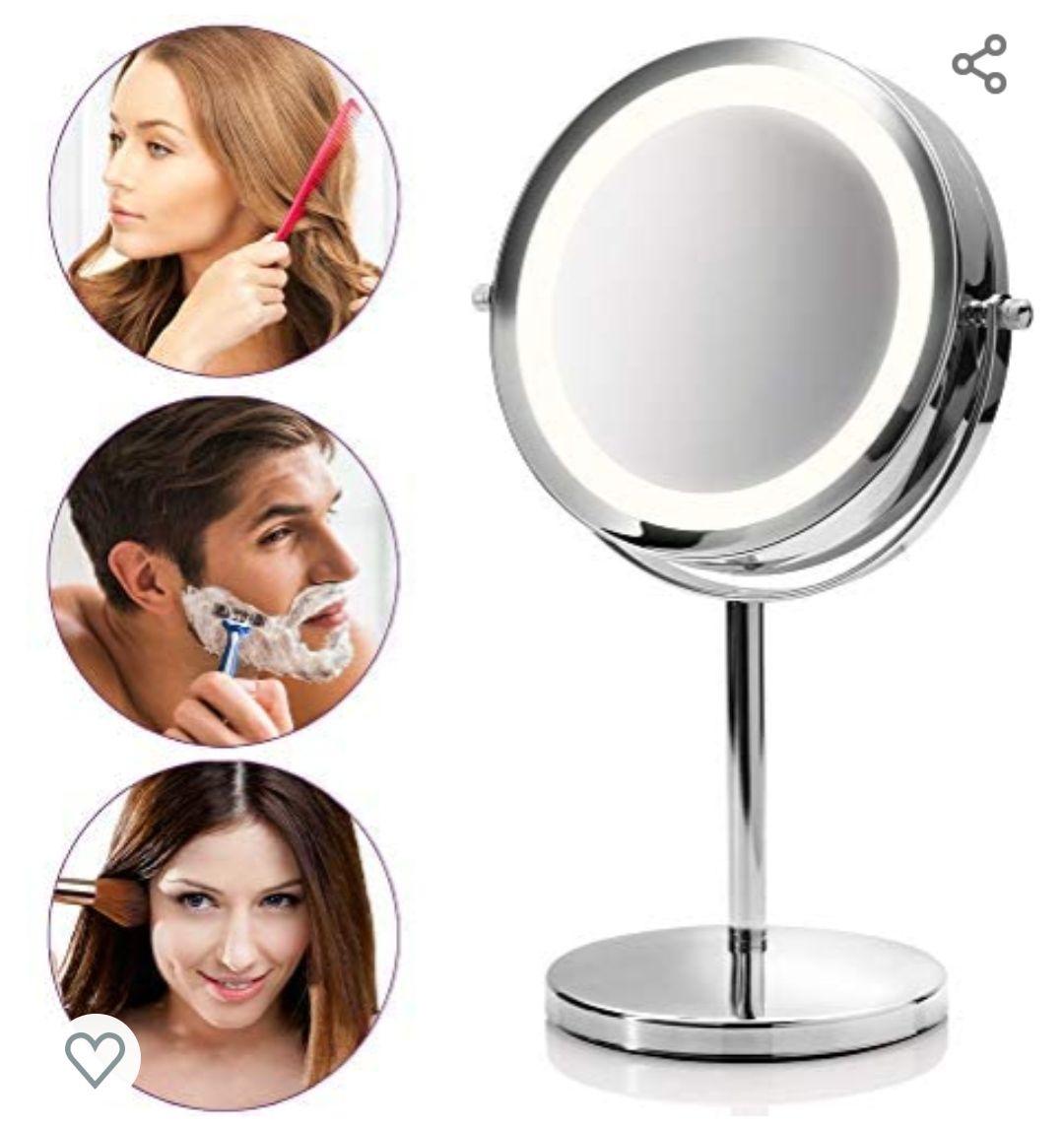Espejo de Mesa con Iluminación Led y 5 Aumentos - Espejo de Maquillaje con Función de Giro de 360