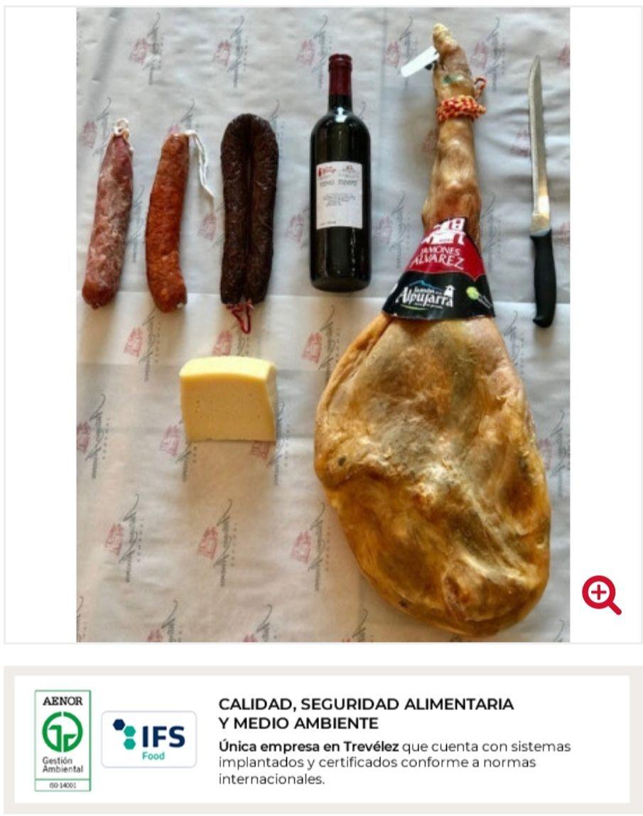LOTE JAMÓN DEL ALPUJARRA + QUESO + VINO+ SALCHICHÓN + CHORIZO + MORCILLA + CUCHILLO