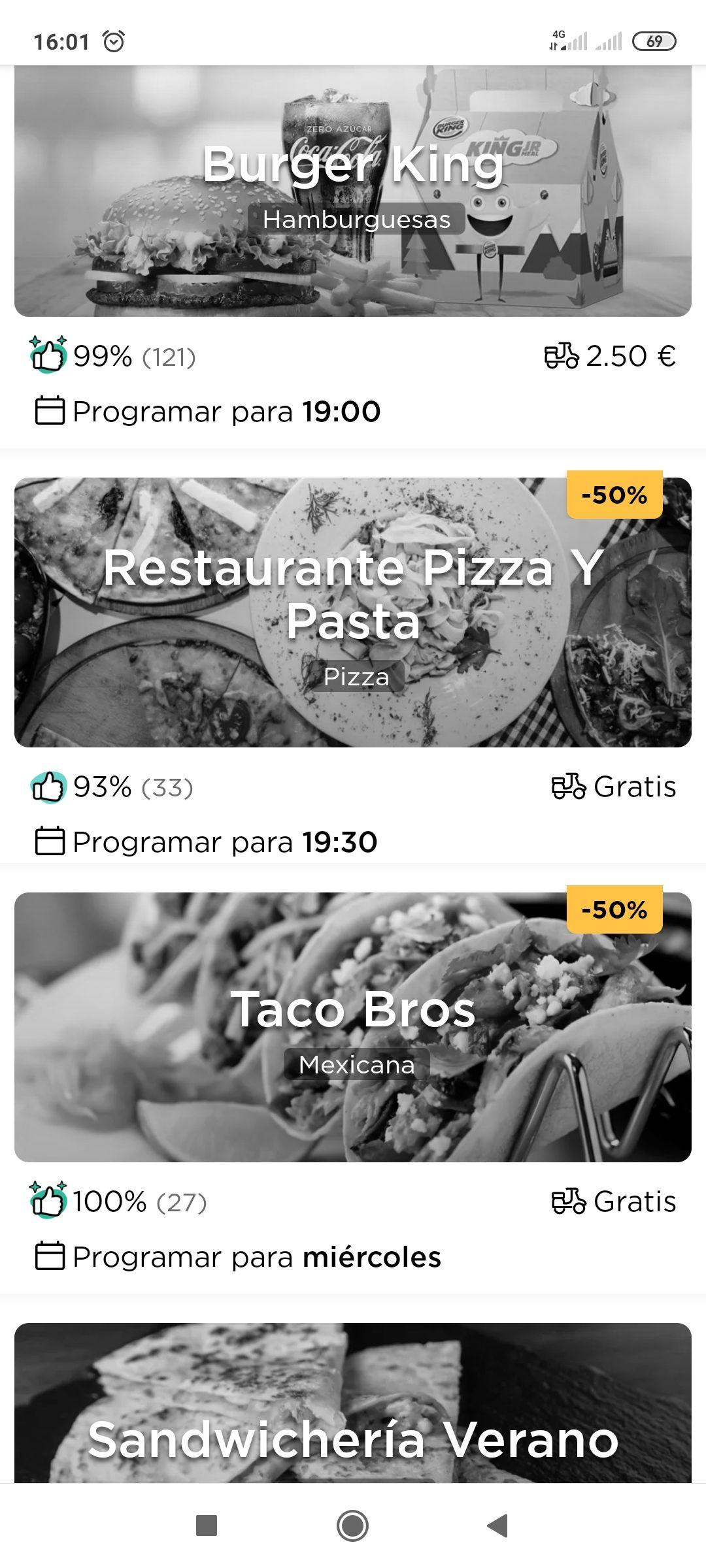 Glovo restaurantes al 50%